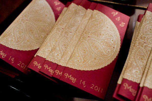 Indian Weddings Ceremony Programs Red Hand Written Gold