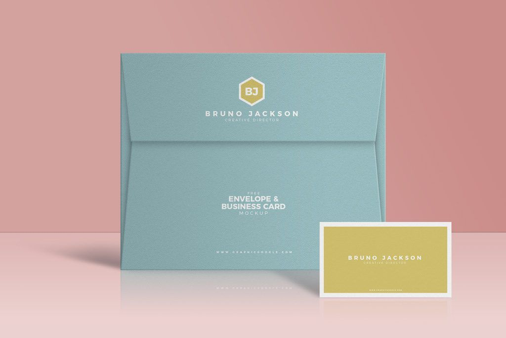 A Mockup Of A Standing Envelope And A Narrow Business Card Fully Organized Psd File Business Cards Mockup Psd Business Card Mock Up Free Business Card Mockup