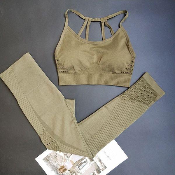 Energy Seamless Leggings+Strappy Bra 2Pcs Yoga Set Women Gym Fitness Clothing