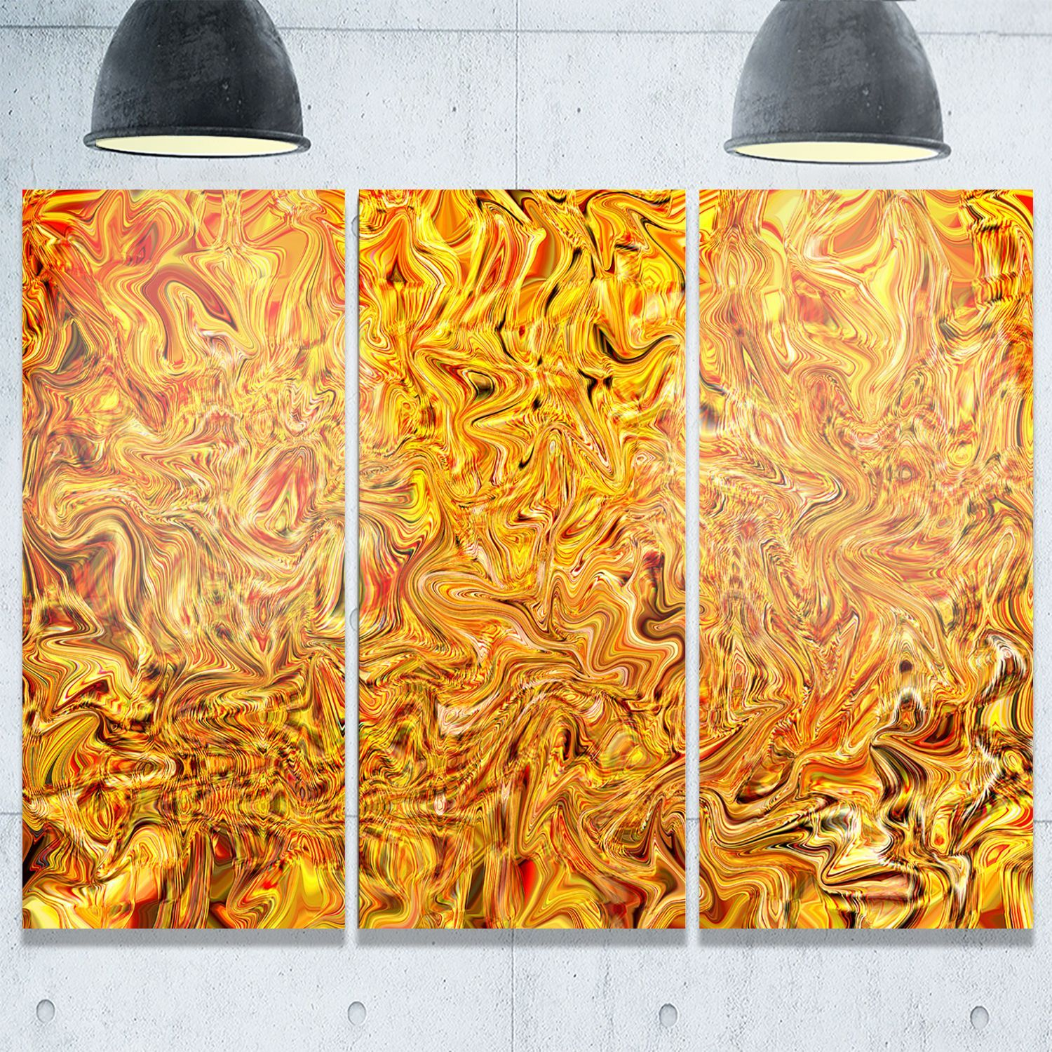 Textured Flowing Yellow Abstract Art Glossy Metal Wall Art By Design Art