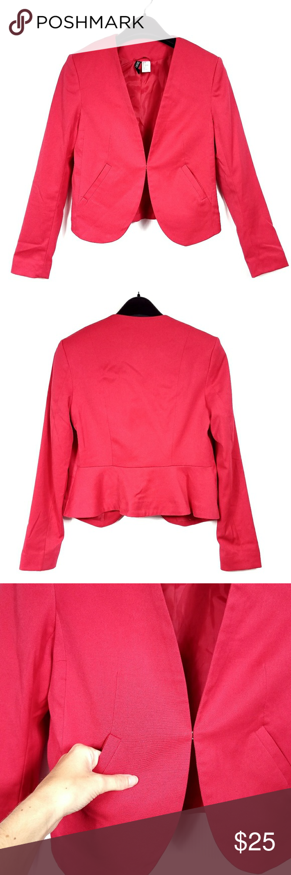 071772696b17 H amp M Divided Red Cropped Jacket H amp M Divided Red Cropped Jacket Size 4