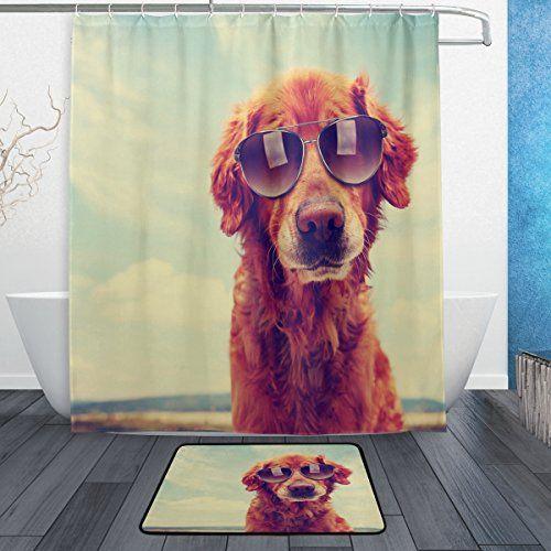 Wozo Vintage Golden Retriever Dog Polyester Fabric Bathro