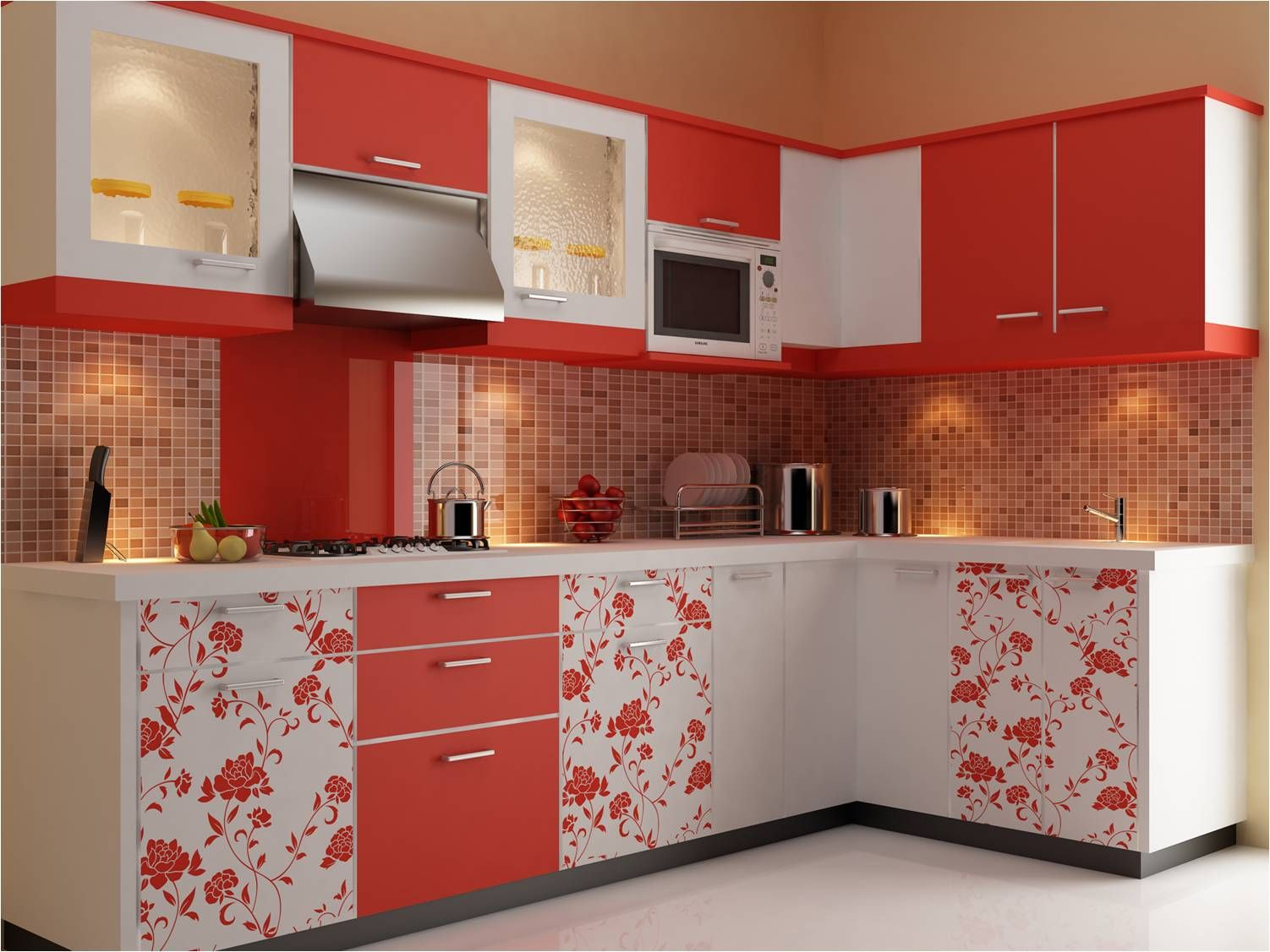 Modular kitchen furniture - Kitchen Design Exciting Pink Modular Kitchen Design Furniture With Floral And Brown Square Tile Wall Decor Ideas Feats Red White Cabinetary Also Modern