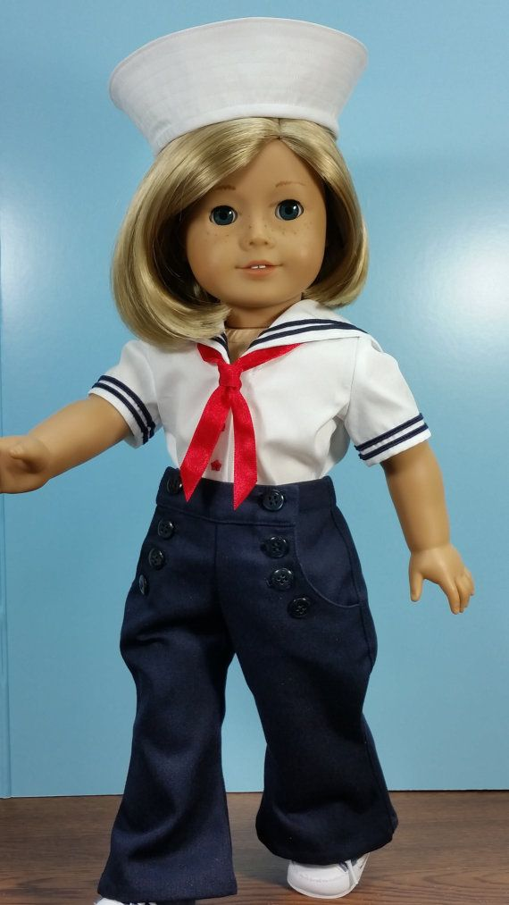 Vintage Style Nautical Sailor Suit Ships Ahoy! fits American Girl Dolls for Girls and Collectors Sold