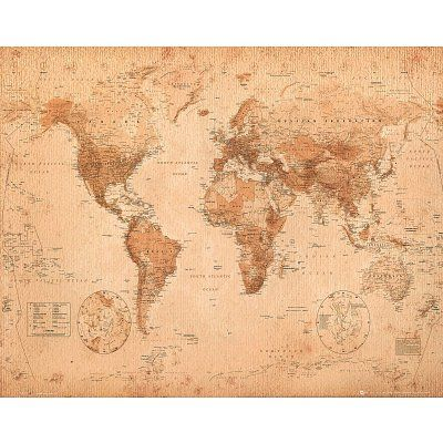 World Map Antique Art Poster Print Antique Art And Art - 16x20 world map