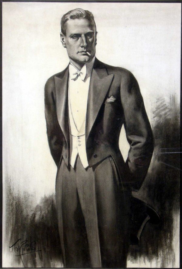 White Tie And Tails By Tom Purvis 1888 1959 Original Design For Austin Reed Circa 1930 Vintage Mens Fashion Gentleman Style White Tie