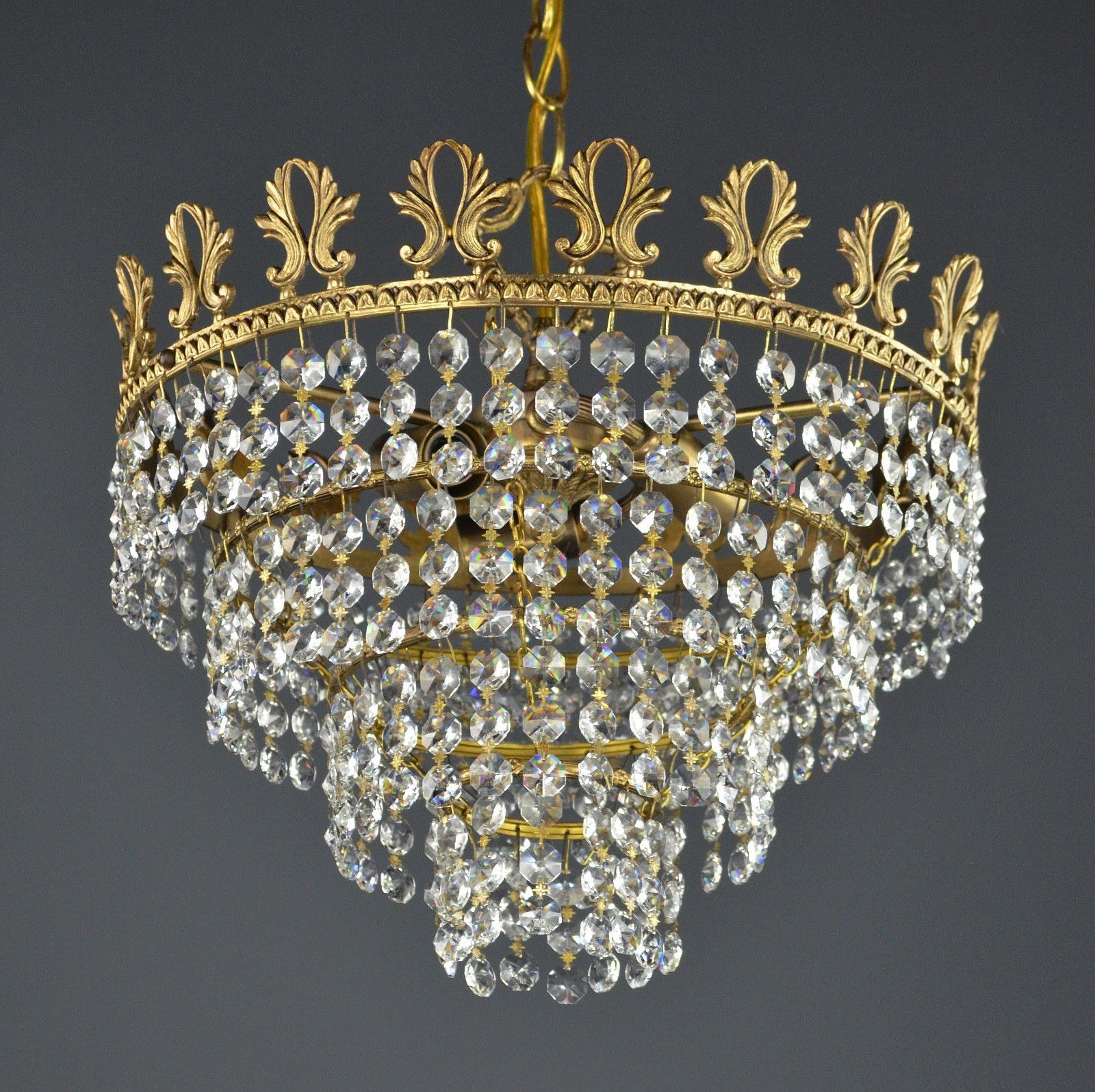 Swarovski crystal crown chandelier c1950 vintage antique gold ornate swarovski crystal crown chandelier c1950 vintage antique gold ornate italian arubaitofo Choice Image