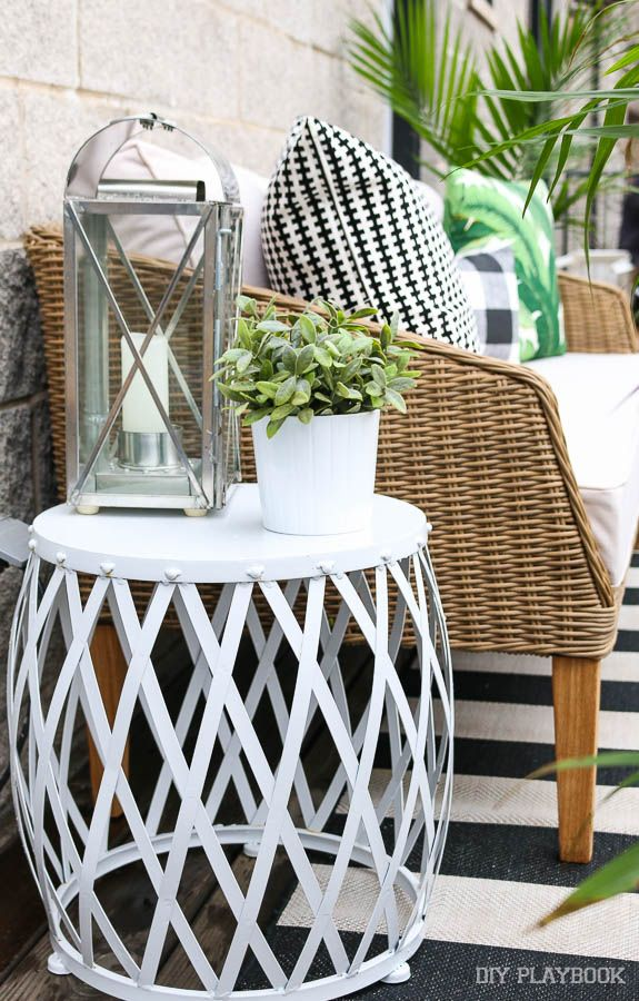 patio decor from wayfair for the perfect outdoor space diy playbook budget patio patio side. Black Bedroom Furniture Sets. Home Design Ideas