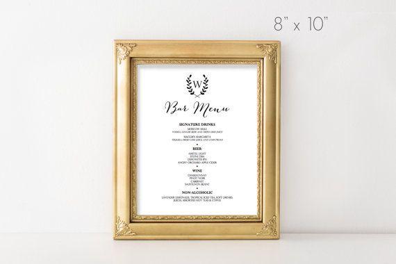 Lux Bar Menu // Printable Sign