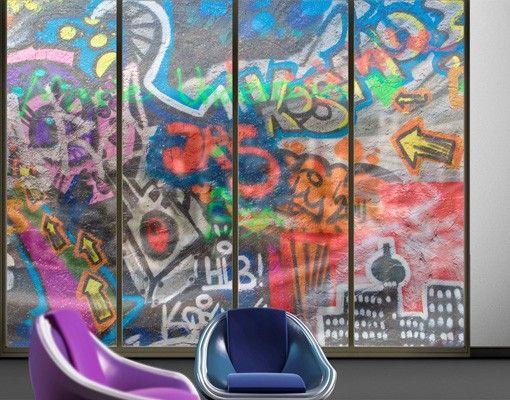 Fensterfolie - XXL Fensterbild Urban Graffiti - Fenster - sichtschutz f r badezimmerfenster