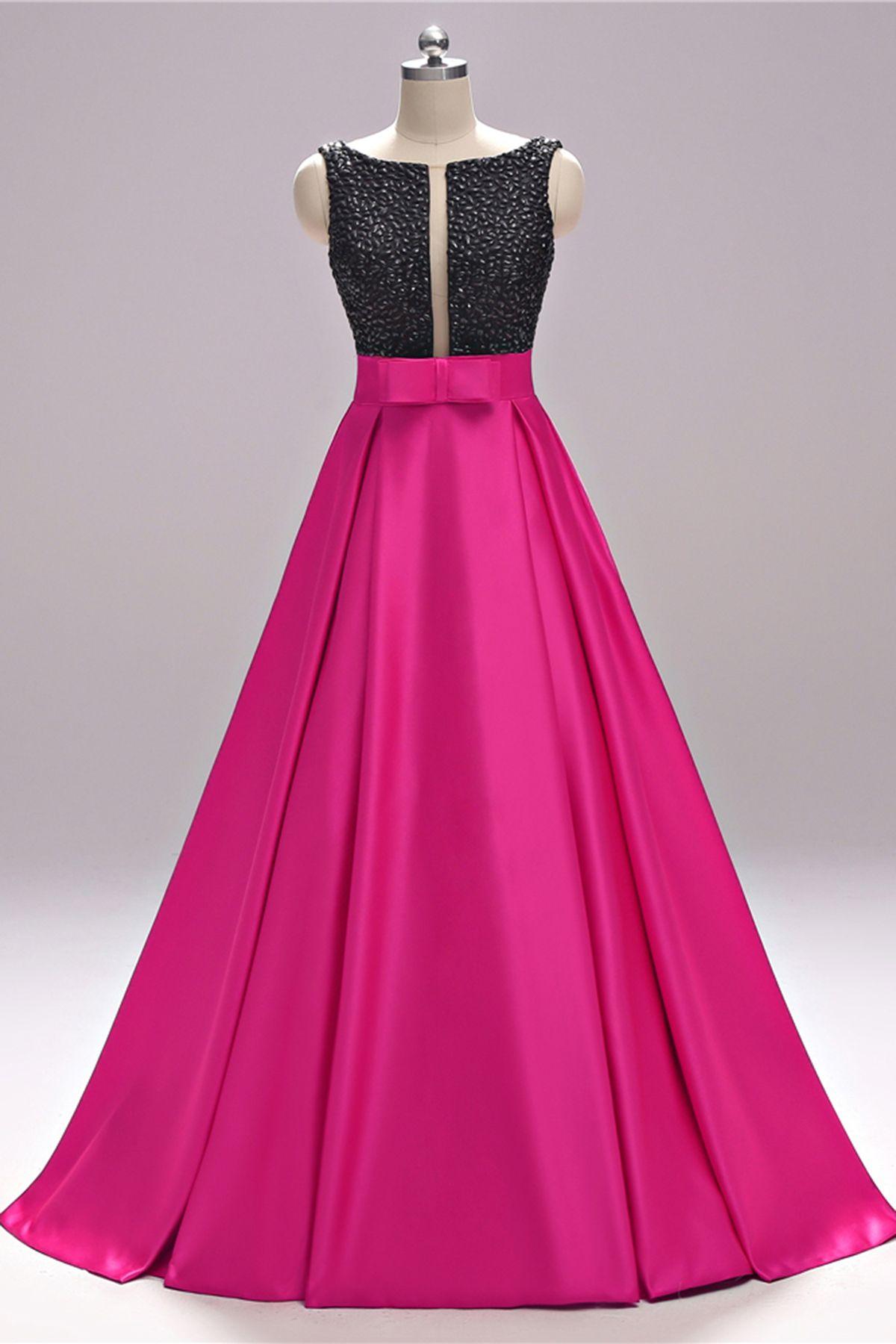 Rosy satin round neck black beaded open back long prom dress halter