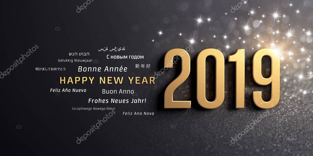 New Year Date 2019 Colored Gold Greeting Words Multiple Languages Stock Ad Colored Gold In 2020 Happy New Year Greetings Happy New Year Quotes Happy New Year
