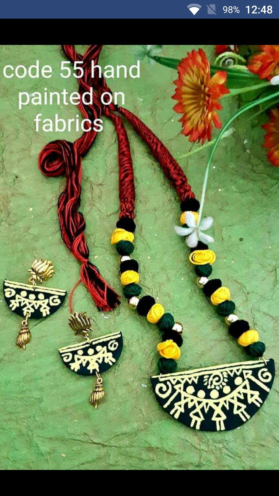 Pin By Anamika Tonge On Jewellery Creation Fabric Jewelry Hand Painted Jewelry Cotton Jewelry