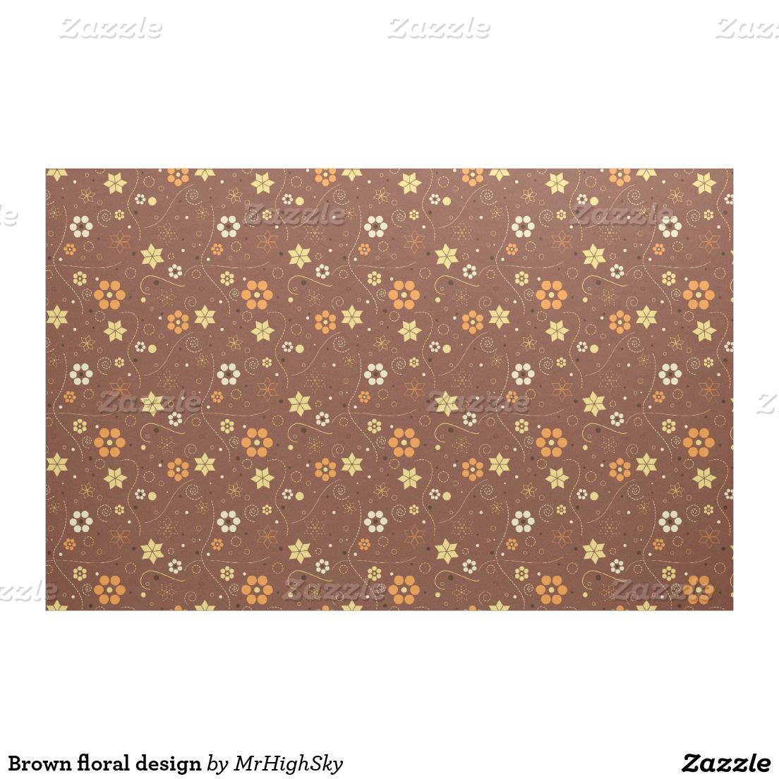 Brown floral design fabric