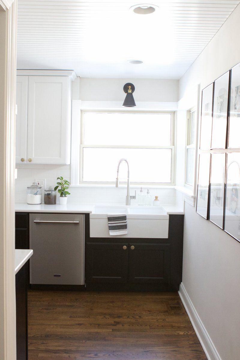 Black and white kitchen reveal white farmhouse kitchens