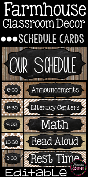 Editable Schedule Cards- Farmhouse Classroom Decor #classroomdecor
