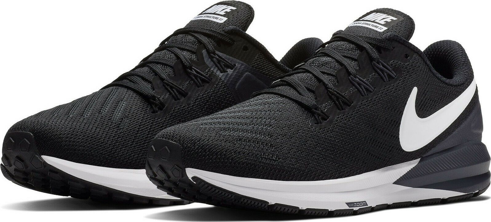 Nike Air Zoom Structure 22 Black White Grey AA1640-002 Women/'s Running Shoes