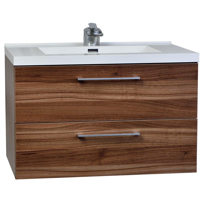Salle De Bain Sol Noir ~ 33 5 Wall Mount Contemporary Bathroom Vanity Set In Walnut Tn Ta860