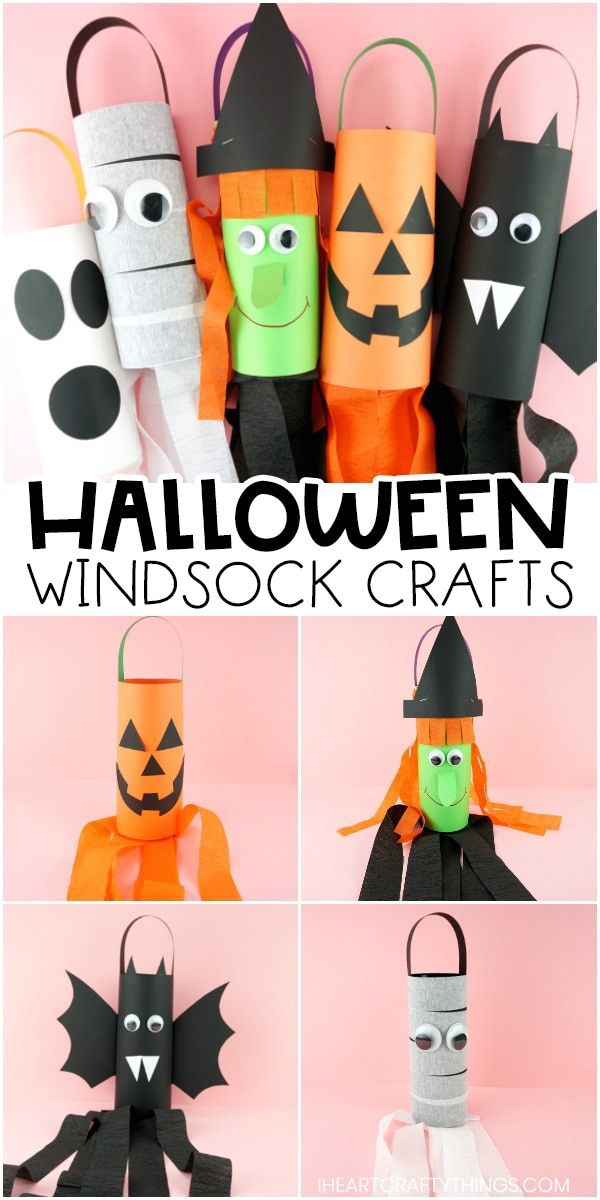 Halloween Windsocks -Make a Jack-o-Lantern, Witch, Bat, Mummy or Ghost!