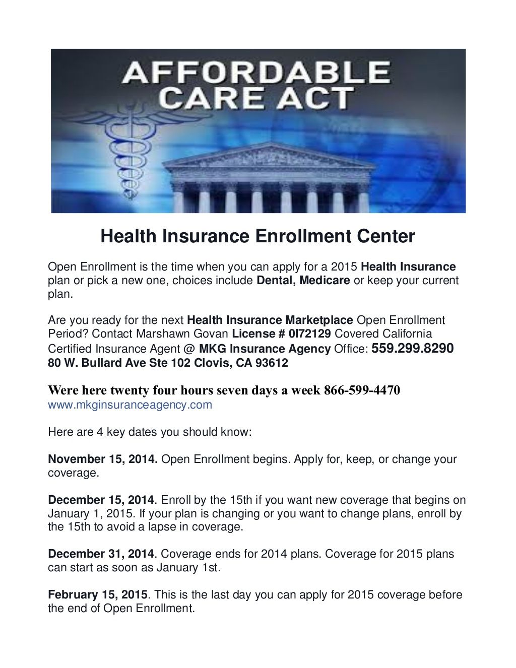 Affordable Care Act Health Insurance Enrollment Center By Mkg Insurance Agency Health Insurance Enrollment Marketplace Health Insurance Health Insurance Plans