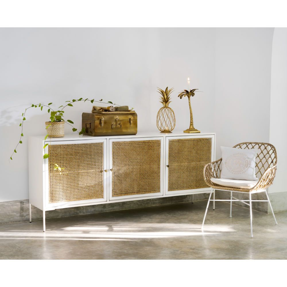 Buffet 3 Portes En Manguier Blanc Et Bambou Maisons Du Monde Thuisdecoratie Wit Dressoir Decoraties
