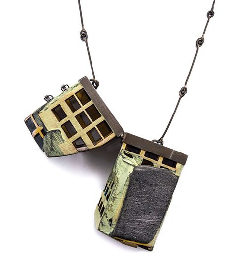 Demi Thomloudis Necklace: Perforated Cleft Slab in Yellow 2013 Cement, plywood, nickel silver, silver solder, pigment