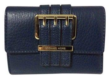 7b1d312c531 Michael Kors Michael Kors Gansevoort MD Trifold Navy Blue Leather Clutch  Wallet: MSRP $148