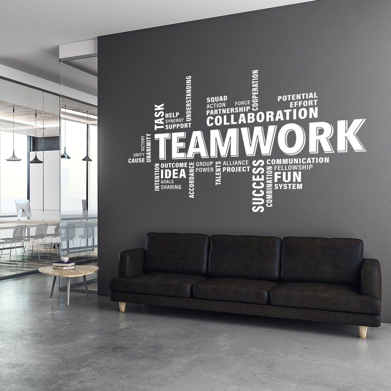 Teamwork Wall Decal Teamwork Decal Office Wall Art Office Etsy Office Wall Decals Office Wall Graphics Office Wall Design
