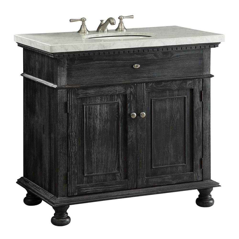 Crawford Burke Lincoln 35 In W X 21 In D Vanity In Black With Marble Vanity Top In White With White Basin B1a The Home Depot Bathroom Vanity Traditional Bathroom Vanity Vanity