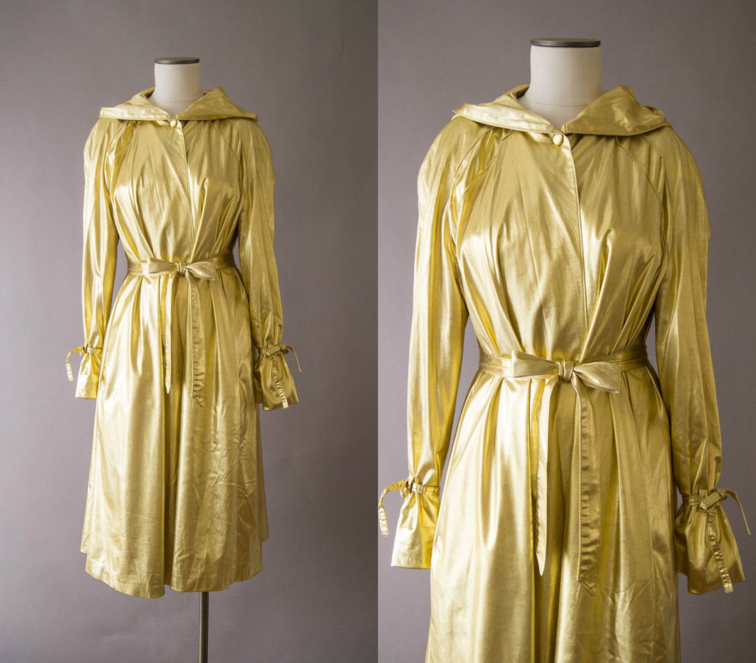 vintage 1970s jacket / 70s gold trench coat / one size / Golden Girl Coat by HungryHeartVintage on Etsy https://www.etsy.com/listing/499770239/vintage-1970s-jacket-70s-gold-trench