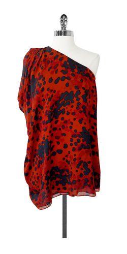 79816255ad34b4 Rachel Zoe- Orange   Slate Print Silk One Shoulder Top Sz 0