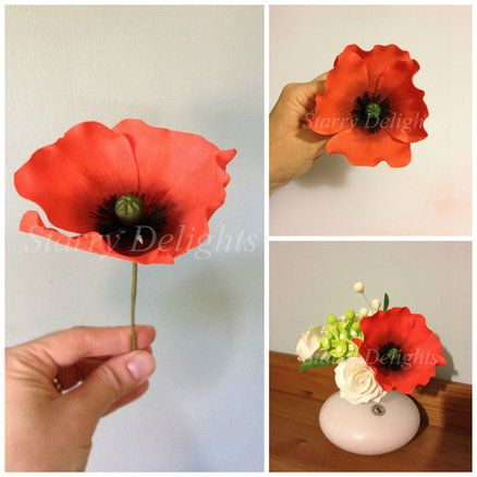 Poppy flower tutorial fondant flowers tutorials pinterest poppy flower tutorial mightylinksfo