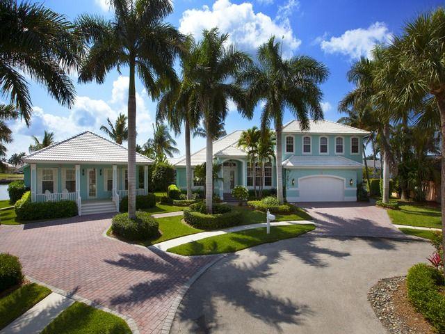 Green Blue Key West Florida style beach house | Naples Florida ...