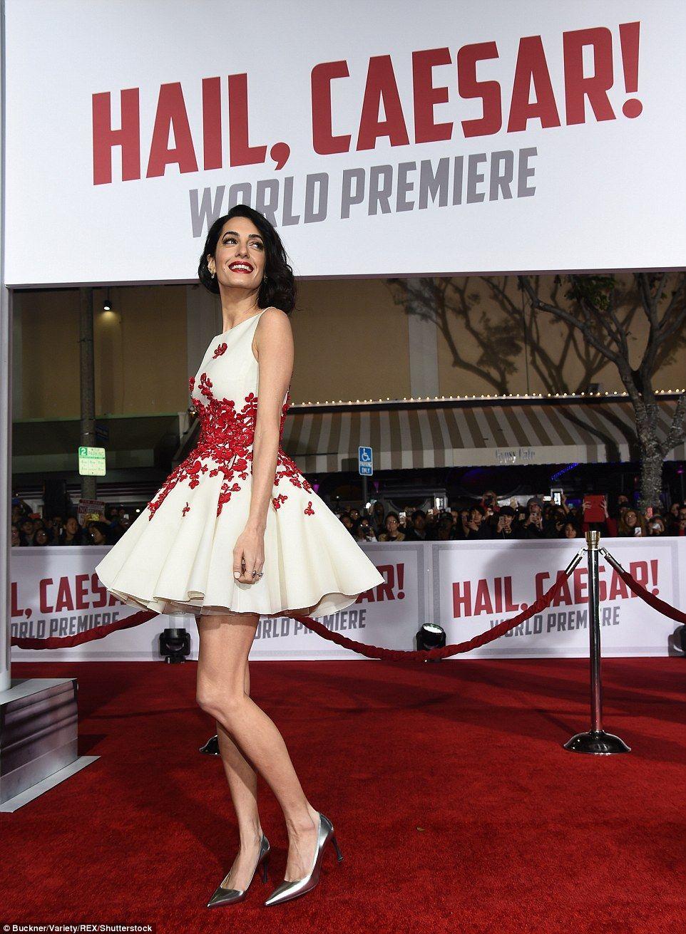 Amal Clooney slips into flirty floral dress at Hail, Caesar! premiere