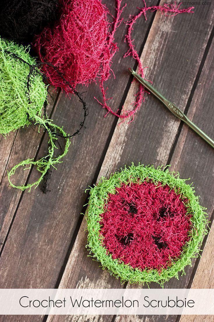 Crochet watermelon scrubbie pattern simple crochet crochet and crochet watermelon scrubbie pattern bankloansurffo Gallery