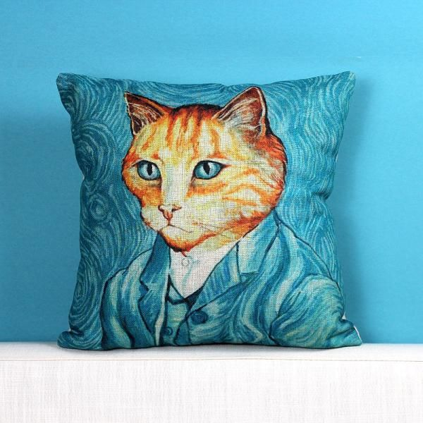 Van Gogh design cat pillow for couch unique oil painting style sofa cushions