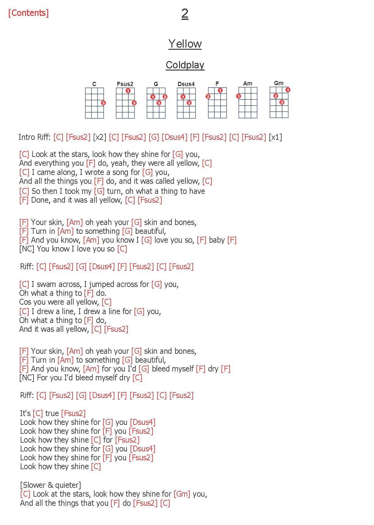 2 Yellow Coldplay Ukelele Chords Ukulele Songs Ukulele Chords Songs Ukulele Songs