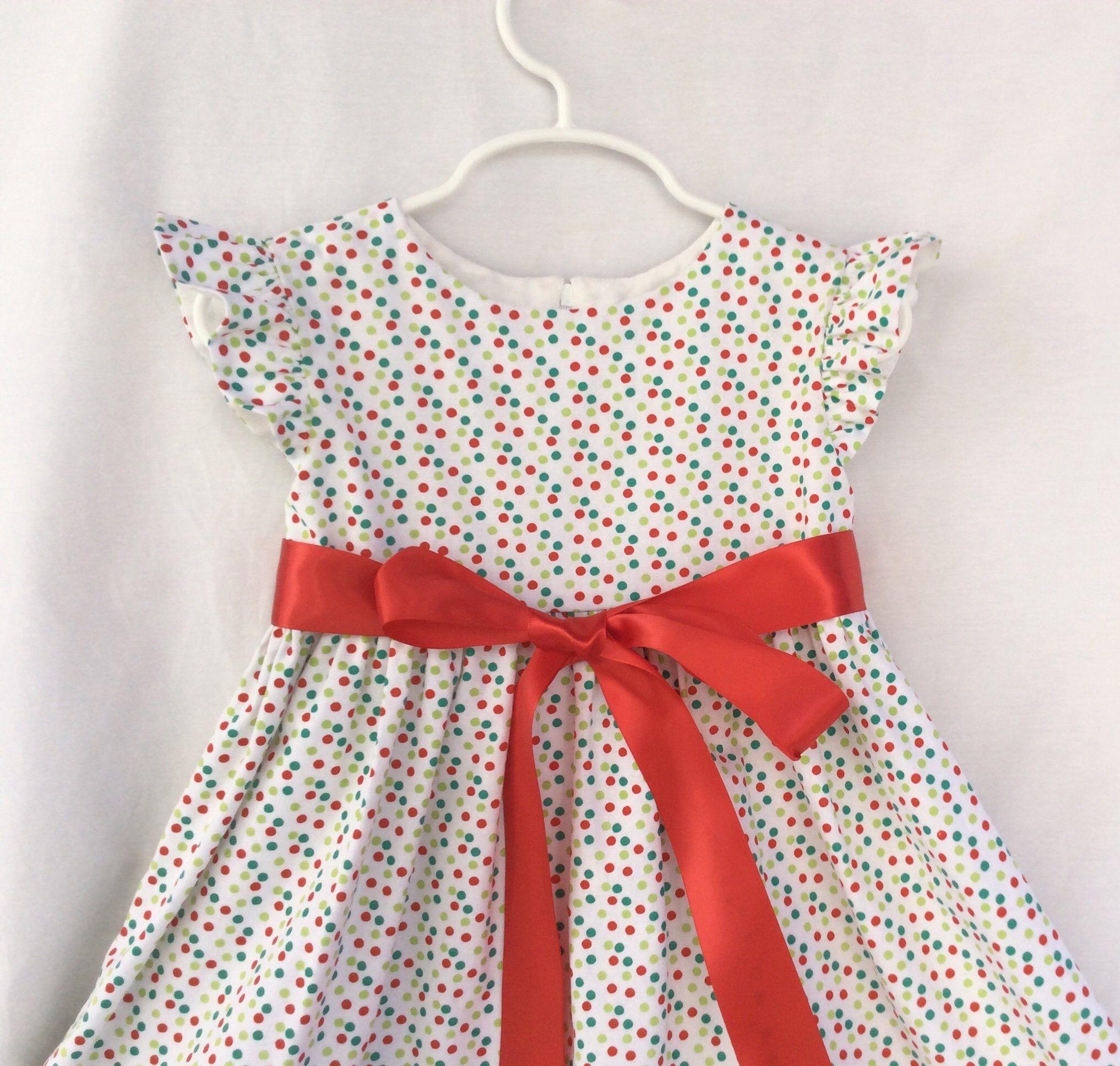 Girls toddlers christmas dress red green aqua polka dots