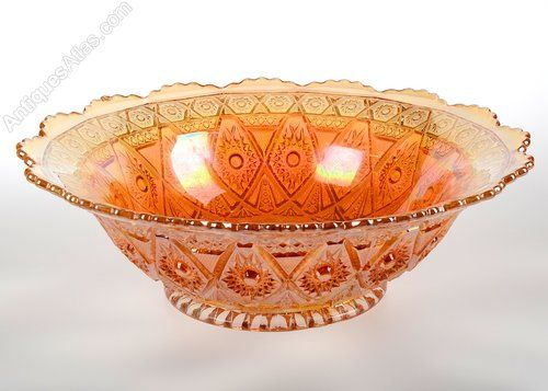 Antiques Atlas - Imperial Carnival Marigold Diamond Lace Glass Bowl