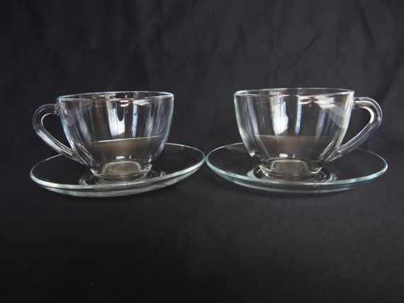Vintage Pair Arcoroc French Clear Glass Teacup With Saucer Etsy Glass Tea Cups Tea Cups Glass Coffee Cups