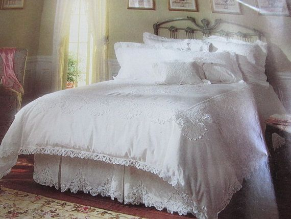 Vintage 3 Piece White Battenburg Lace Twin Duvet Cover, Pillow Sham And Bed Skirt NOSWT