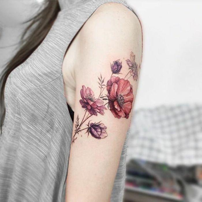 Préférence ▷1001+ idées de tatouage de fleur et quelle est sa signification  JA89