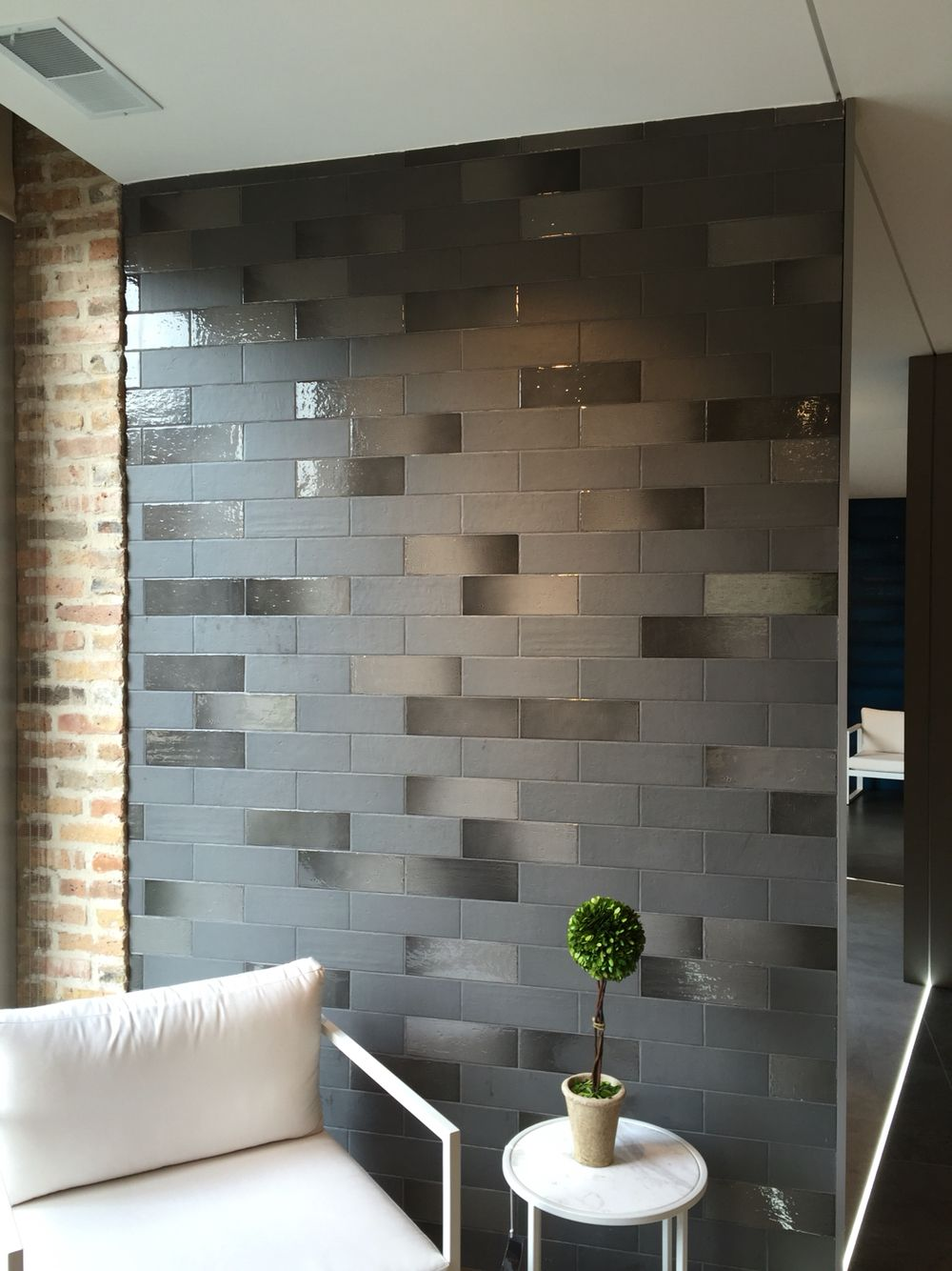 Stonepeak Aura 4x12 Wall Tile In Matte Gloss Mix Color Slate Accent Walls In Living Room Tile Accent Wall Living Room Tile Accent Wall
