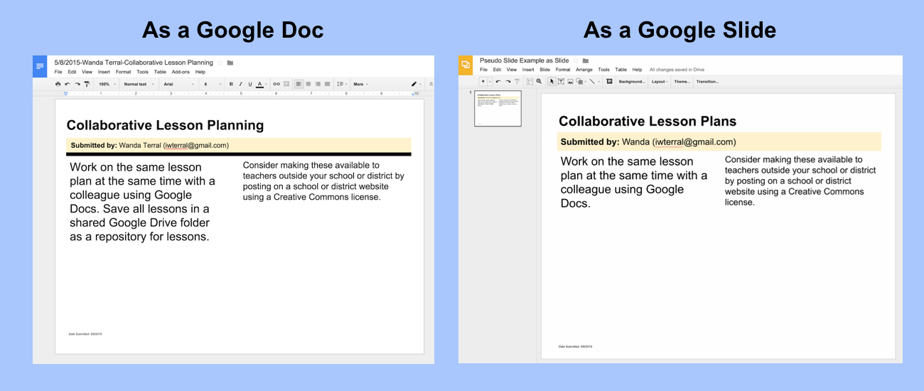 Create Pseudo Slides From Google Form Submissions Google Forms Lesson Plans Google