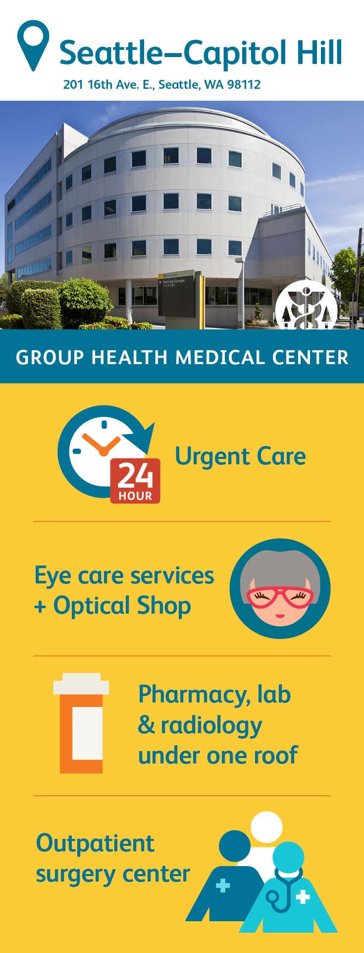 The Group Health Capitol Hill Campus Houses Dozens Of Primary Care Doctors Practicing At The Family Health Center As Wel Group Health Urgent Care Health Center