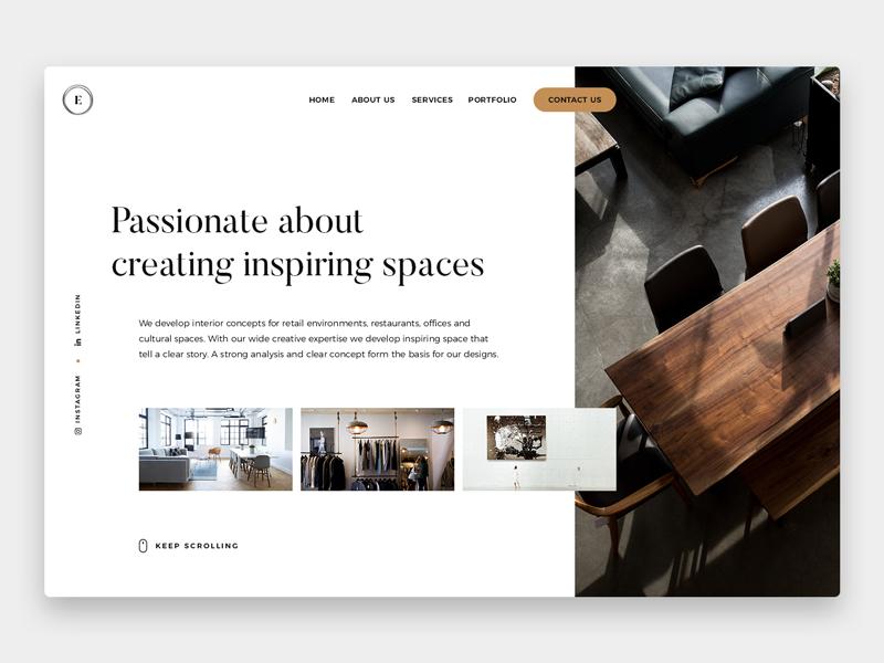 Interior Design Landing Concept Interior Design Website
