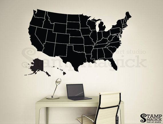 United States of America Map Decal Wall Sticker showing