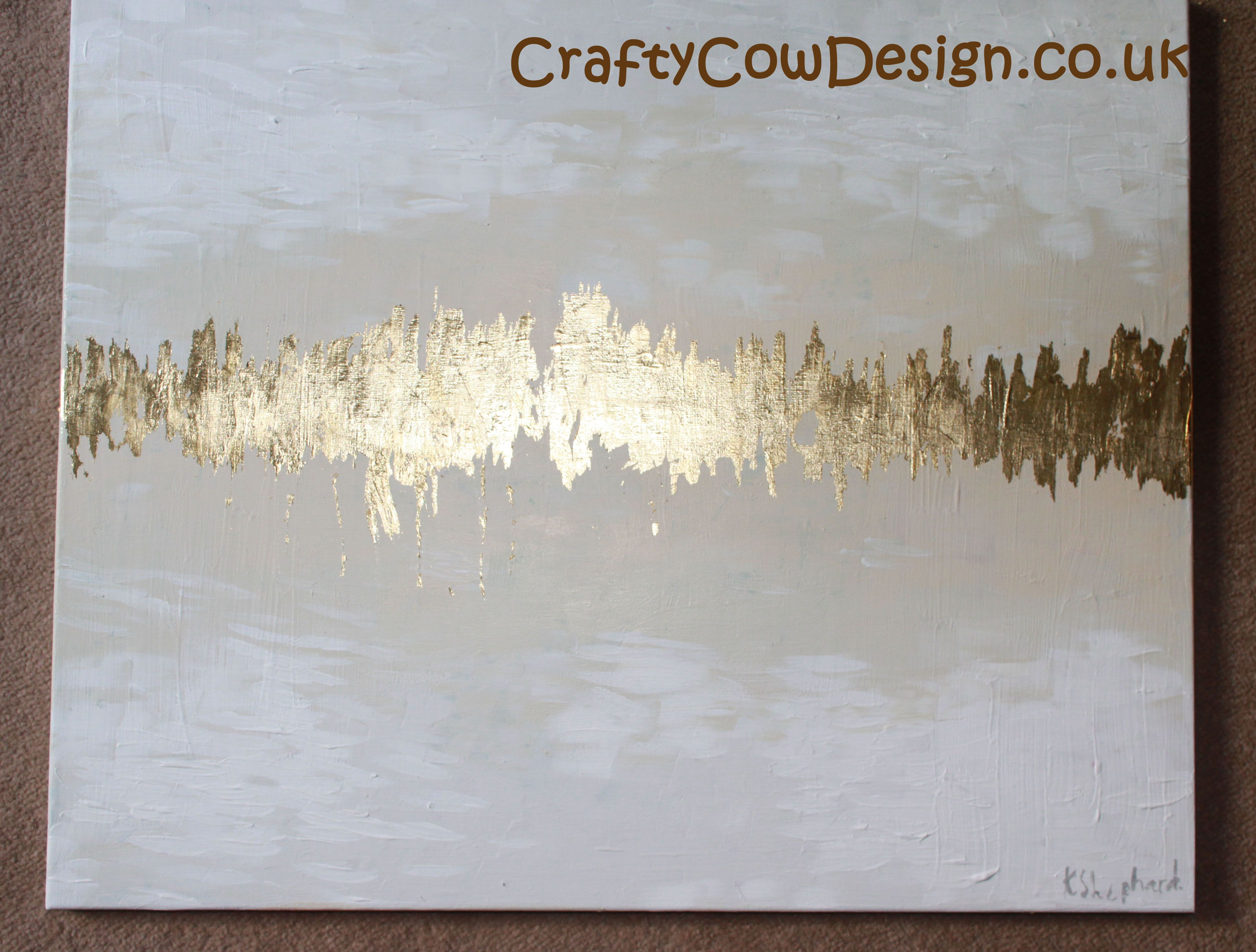 Gold Cream and White Canvas painting, Abstract painting, Abstract ...