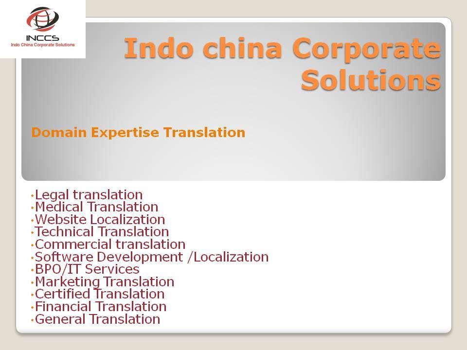 Specialized Translations domain. Chinese language