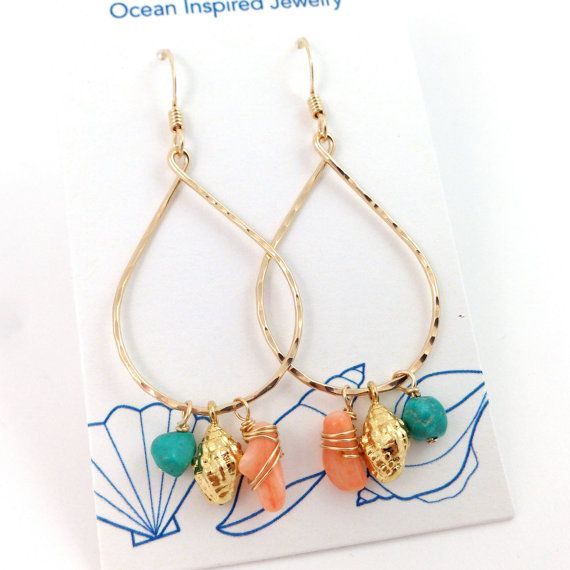 Miter Hoop Gem and Coral Earring 14kt Gold Filled by MishaHawaii